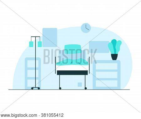 Hospital Ward Interior. Vector Concept Illustration Of An Empty Hospital Ward Interior With Bed, Loc