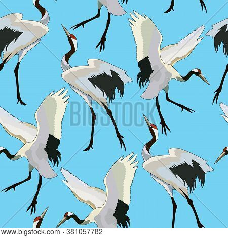 Seamless Pattern With Storks, Ornament For Fabric And Wallpaper, Scrapbooking Paper, Background For