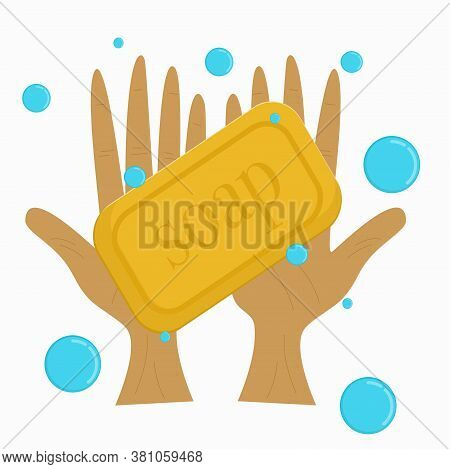 Two Hands With Soap And Bubbles Isolated On A White Background. Can Be Used To Demonstrate Cleanline