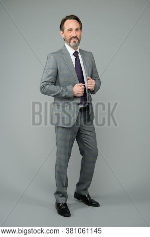 Your Future Is My Business. Businessman Grey Background. Ceo Or Chief Executive. Mature Man In Forma