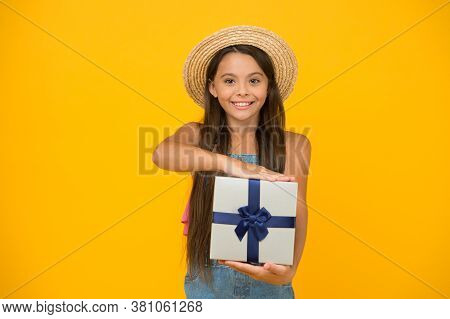 Luxury Present At Great Price. Happy Child Hold Present Box. Little Girl Celebrate Holiday. Birthday