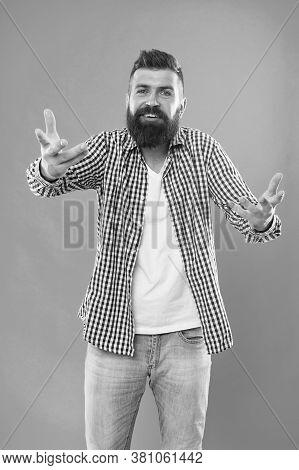 I Need Barber. Bearded Man Ask Barber Blue Background. Beard Barber. Brutal Hipster With Unshaven Fa