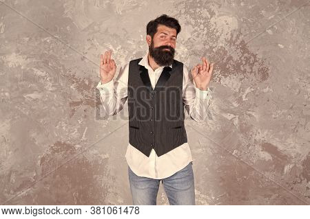 Guy Mature Bearded Stylish Dressed In Shirt And Vest. Jewish Holiday. Emotional Expression. Charming