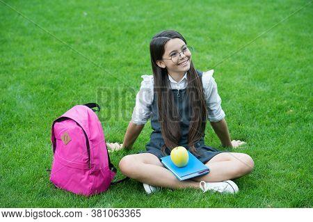 The Best Time To Take Break. Happy Child Relax On Green Grass. School Break. Snack Break. Healthy Ea