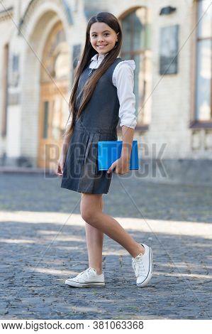 Education Towards Freedom. Happy Child Back To School. Formal Education. Little Girl Wear Uniform. P