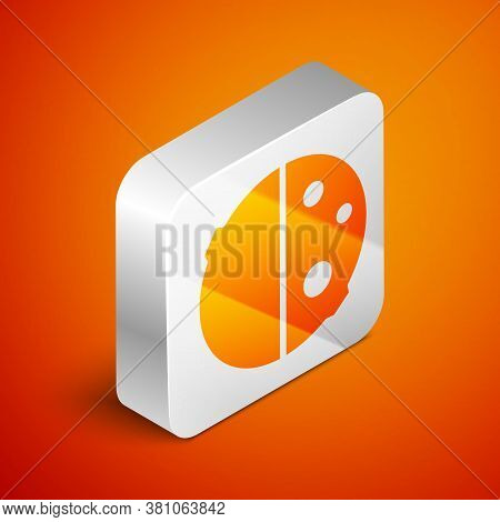 Isometric Eclipse Of The Sun Icon Isolated On Orange Background. Total Sonar Eclipse. Silver Square