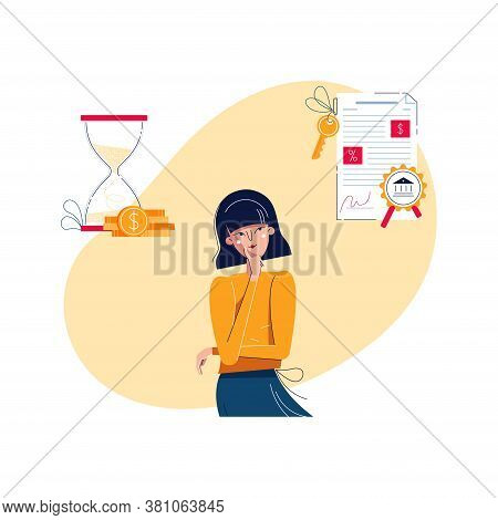 Mortgage Or Savings Choice Concept. Woman Is Choosing Saving Money For A Long Time Or Mortgage Loan