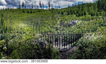 Wooden Trestle Bridges Of The Abandoned Kettle Valley Railway In Myra Canyon Near Kelowna, British C