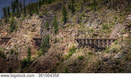 Series Of Wooden Trestle Bridges Of The Abandoned Kettle Valley Railway In Myra Canyon Near Kelowna,