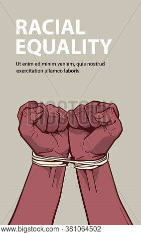 African American Black Fists Tied With Rope Stop Racism Racial Equality Black Lives Matter Concept V