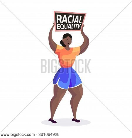 African American Woman Activist Holding Stop Racism Poster Racial Equality Social Justice Stop Discr
