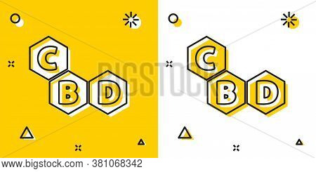 Black Cannabis Molecule Icon Isolated On Yellow And White Background. Cannabidiol Molecular Structur