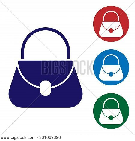 Blue Handbag Icon Isolated On White Background. Female Handbag Sign. Glamour Casual Baggage Symbol.