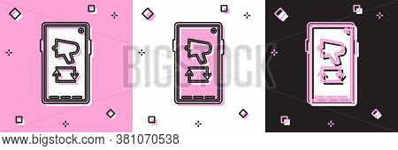 Set Spread The Word, Megaphone On Mobile Phone Icon Isolated On Pink And White, Black Background. Ve
