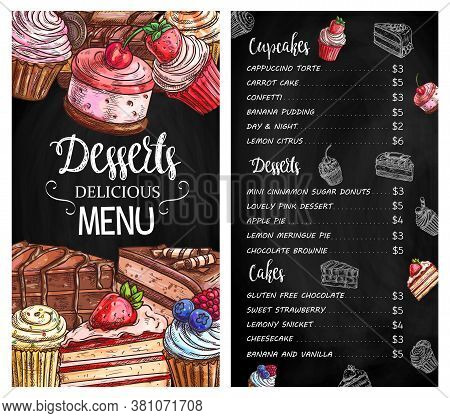 Desserts And Cakes Menu Chalkboard Sketch. Strawberry And Chocolate Cakes Pieces, Cupcakes And Muffi