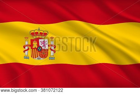 Spanish Flag, Spain Country National Identity, Vector Design With Coat Of Arms And Crown On Yellow A