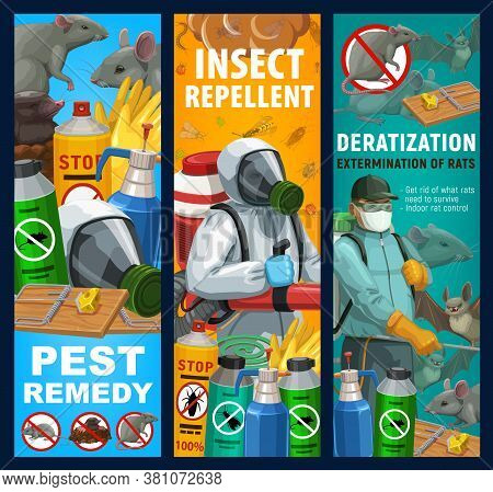 Pest Control Sanitary Service Vector Banners. Disinfestation And Deratization With Insecticides, Dom