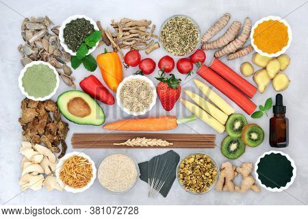 Healthy food to ease irritable bowel syndrome acupuncture needles. Health foods and and herbs used in herbal medicine high in antioxidants, protein, dietary fibre, vitamins, minerals & smart carbs.