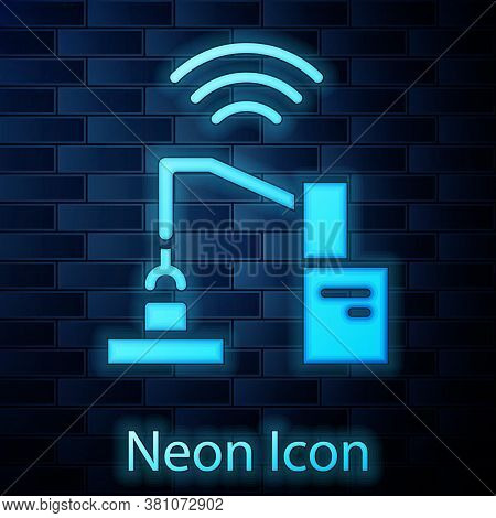 Glowing Neon Industrial Machine Robotic Robot Arm Hand Factory Icon Isolated On Brick Wall Backgroun
