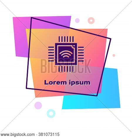 Purple Computer Processor With Microcircuits Cpu Icon Isolated On White Background. Chip Or Cpu With
