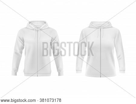 Hoodie, White Sweatshirt Vector Mockup For Men And Women Front View. Isolated Hoody With Long Sleeve