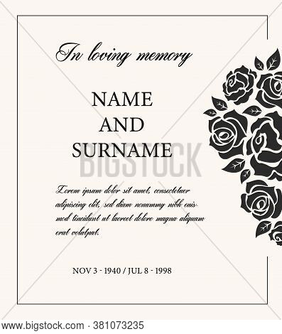 Funeral Card Vector Template, Vintage Condolence Obituary With Typography In Loving Memory And Vinta