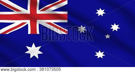 Australian Flag, Australia Country National Identity, Vector Design With Seven Pointed White Stars A