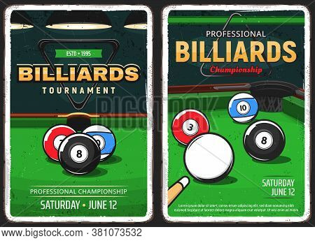 Billiards Pool Game, Snooker Championship And Tournament Vector Retro Vintage Posters. Poolroom Bill