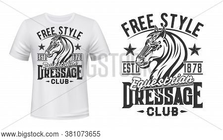 T-shirt Print With Horse Stallion, Equestrian Sport, Racing Dressage Club Vector Mascot. Mare Animal