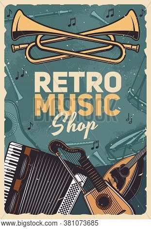 Music Retro Instruments Shop, Vintage Poster With Folk, Country Or Rare Musical Sound Instruments. R