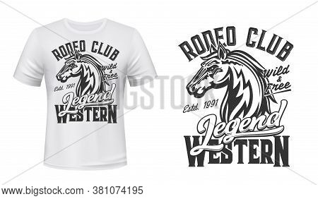 Tshirt Print With Horse Mustang, Vector Mascot Stallion, Equestrian Sport, Rodeo Or Racing Club. Mar