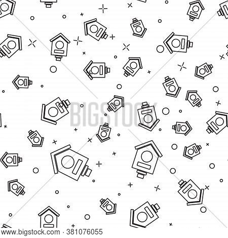 Black Line Bird House Icon Isolated Seamless Pattern On White Background. Nesting Box Birdhouse, Hom
