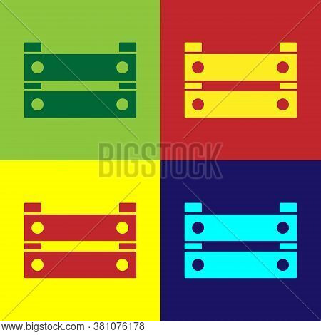 Pop Art Wooden Box Icon Isolated On Color Background. Grocery Basket, Storehouse Crate. Empty Wooden