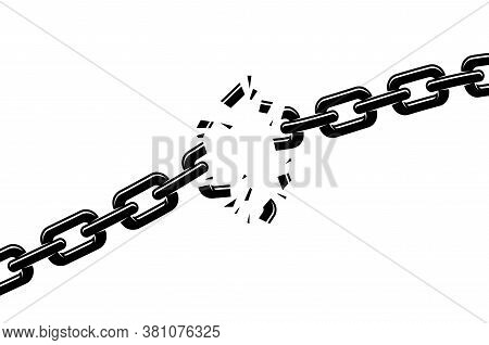 Breaking Chain Freedom And Liberty Concept Vector Illustration In Poster Style, Liberation, Weak Lin