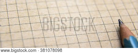 Graph Paper Of Notebook Background, Blank Page Of Retro Sketchbook And Pencil. Panoramic View Of Vin