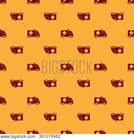 Red Ambulance And Emergency Car Icon Isolated Seamless Pattern On Brown Background. Ambulance Vehicl