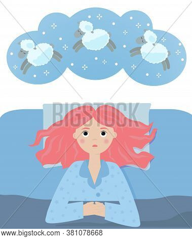Sleepless Girl In Bed Trying To Fall Asleep Counting Jumping Sheeps. Vector Concept For Insomnia.
