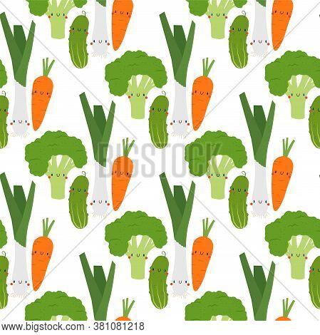 Kawaii Cartoon Broccoli, Carrot, Leek And Cucumber. Seamless Vector Patterns On White Background