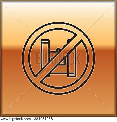 Black Line Say No To Plastic Bags Poster Icon Isolated On Gold Background. Disposable Cellophane And