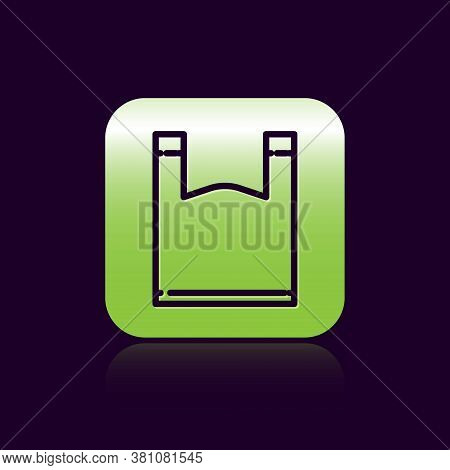 Black Line Plastic Bag Icon Isolated On Black Background. Disposable Cellophane And Polythene Packag