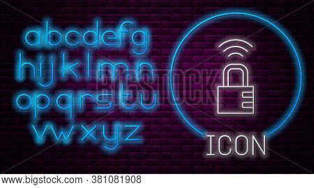Glowing Neon Line Smart Safe Combination Lock Icon Isolated On Brick Wall Background. Combination Pa