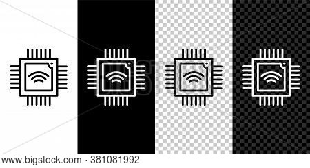 Set Line Computer Processor With Microcircuits Cpu Icon Isolated On Black And White Background. Chip
