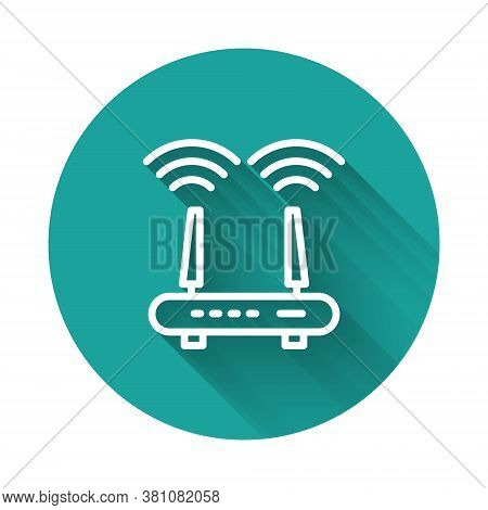White Line Router And Wi-fi Signal Icon Isolated With Long Shadow. Wireless Ethernet Modem Router. C