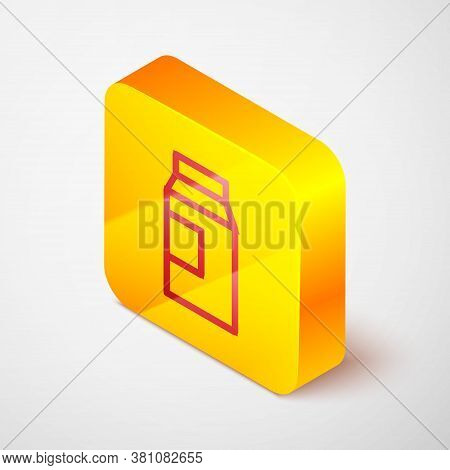 Isometric Line Paper Package For Milk Icon Isolated On Grey Background. Milk Packet Sign. Yellow Squ