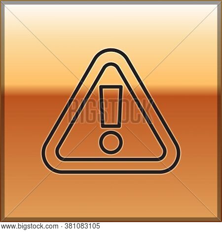 Black Line Exclamation Mark In Triangle Icon Isolated On Gold Background. Hazard Warning Sign, Caref