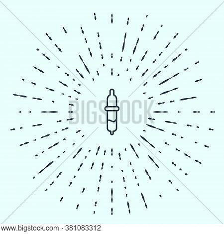 Black Line Pipette Icon Isolated On Grey Background. Element Of Medical, Chemistry Lab Equipment. Pi