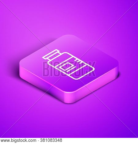 Isometric Line Collagen Serum And Vitamin Icon Isolated On Purple Background. Facial Treatment Essen