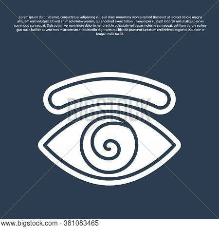 Blue Line Hypnosis Icon Isolated On Blue Background. Human Eye With Spiral Hypnotic Iris. Vector