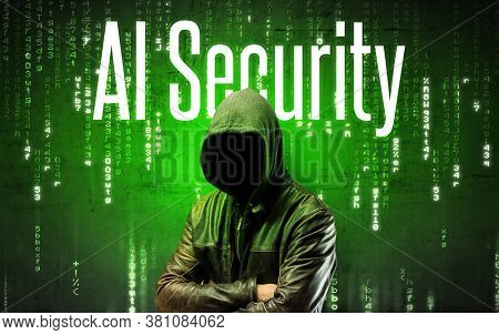 Faceless hacker with AI Security inscription, hacking concept