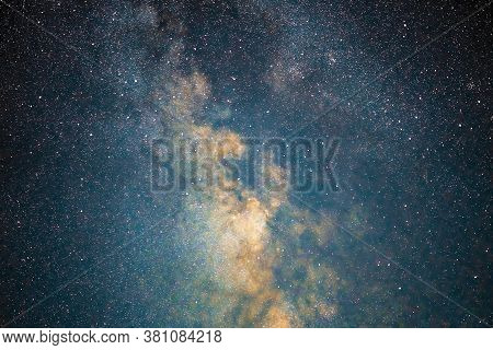 Milky Way Galaxy Stars Space Dust In The Universe, Long Exposure Photograph, With Grain. Summer Nigh